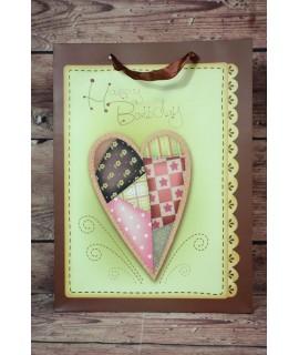 "Darčeková taška ""Happy Birthday"" - srdce (31x42x12 cm)"