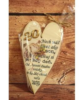 Drevené srdce k 20. narodeninám (10x18 cm) 3.