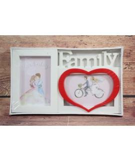 """Fotorám na 2 fotky """"FAMILY"""" - bielo-červený (30x17 cm)"""