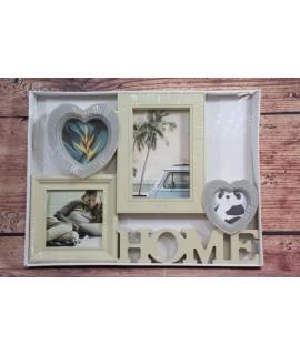 """Fotorám na 4 fotky """"HOME"""" - krémový (35,5x26,5 cm)"""