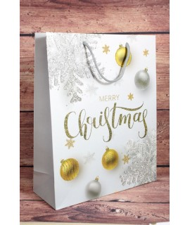 """Darčeková taška """"MERRY CHRISTMAS"""" - strieborné a zlaté gule (25,5x32x10 cm)"""