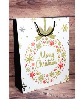 """Darčeková taška """"MERRY CHRISTMAS"""" - zlaté a červené hviezdy (25,5x32x10 cm)"""