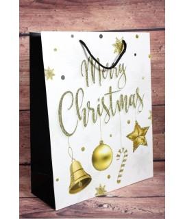 """Darčeková taška """"MERRY CHRISTMAS"""" - zlaté ozdoby (25,5x32x10 cm)"""