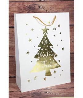 """Darčeková taška """"OH CHRISTMAS TREE"""" - zlatý vianočný stromček (31x42,5 cm)"""