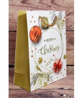"""Darčeková taška """"MERRY CHRISTMAS"""" - červené a zlaté ozdoby (18x23,5 cm)"""