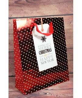 """Darčeková taška """"WISHING YOU A MERRY CHRISTMAS"""" - bodkovaná (26x38 cm)"""