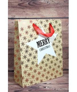 """Darčeková taška """"MERRY CHRISTMAS"""" - červené vločky (26x32 cm)"""