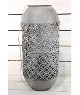 Plechová lampa v arabskom štýle - sivo-hnedá (v. 45,5 cm)