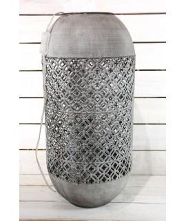 Plechová lampa v arabskom štýle - sivo-hnedá (v. 59 cm)