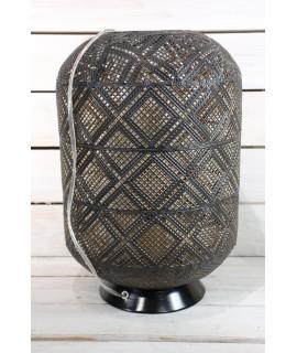Plechová lampa v arabskom štýle - čierno-zlatá (v. 41 cm)