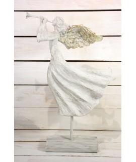 Anjel s trúbkou na podstavci - sivo-zlatý (v. 50 cm)