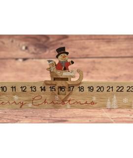 Drevený adventný kalendár so snehuliakom (40x11x2,1 cm)