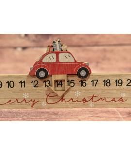 Drevený adventný kalendár s autíčkom (40x11x2,1 cm)