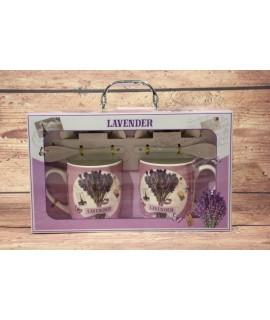 """2 šálky s podšálkami a lyžičkami """"LAVENDER"""" v darčekovej krabici 9."""