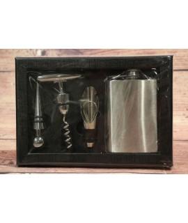4-dielny set v darčekovej krabici (fľaška, 3x na otváranie vína)