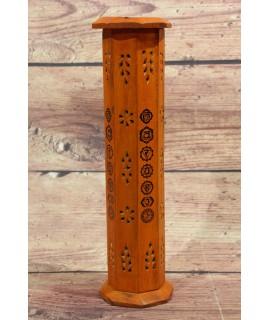 Drevená veža na vonné tyčinky - oranžová (v. 30,5, p. 8,5 cm )