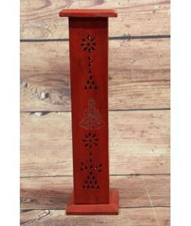 Drevená veža na vonné tyčinky - červená (v. 30,5, p. 7,5 cm )