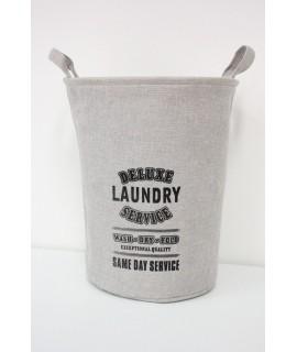 """Textilný kôš na prádlo """"LAUNDRY"""" - béžový (v. 44 cm, p. 36 cm)"""