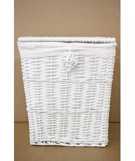 Prútený kôš na prádlo - biely (45x53x34,5 cm)