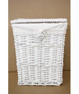 Prútený kôš na prádlo - biely (36x45x28 cm)