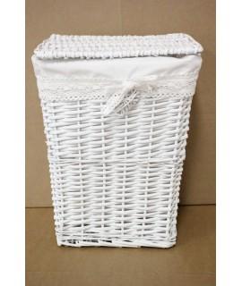 Prútený kôš na prádlo - biely (28,5x38,5x23 cm)