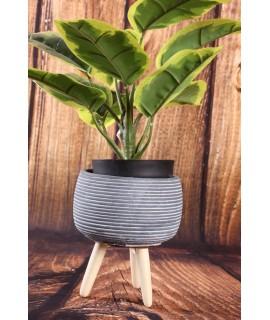 Betónový kvetináč na drevených nožičkách - sivý (13,5x15,5cm)