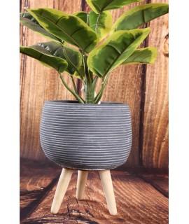 Betónový kvetináč na drevených nožičkách - sivý (15,5x18,5cm)