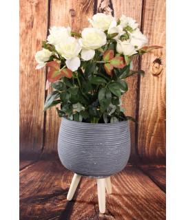 Betónový kvetináč na drevených nožičkách - sivý (16,5x21cm)
