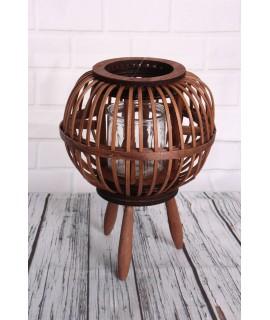 Bambusový lampáš so sklom - hnedý (20,5x23x,5x20,5 cm)
