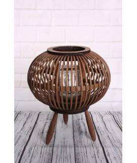 Bambusový lampáš so sklom - hnedý (v. 28 cm, p. 26 cm)