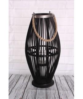 Bambusový lampáš so sklom - čierny (24x49x24 cm)