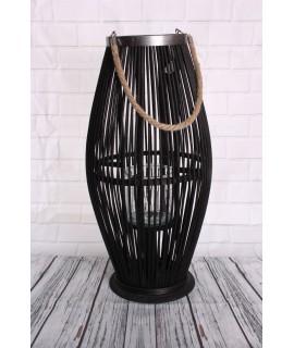 Bambusový lampáš so sklom - čierny (29x59x29 cm)