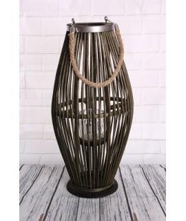 Bambusový lampáš so sklom - zelený (25x49x24 cm)