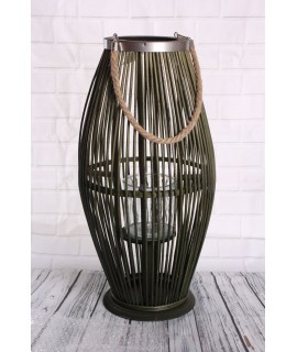Bambusový lampáš so sklom - zelený (30x59x29 cm)