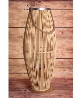 Bambusový lampáš so sklom - bledohnedý (29x71x29 cm)