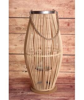 Bambusový lampáš so sklom - bledohnedý (30x59x29 cm)