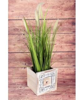 Drevený závesný šuflík na sadenie kvetov s motívom (18,5x18,5x18,5 cm) - hnedý