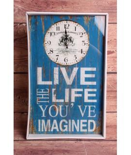 "Hodiny ""LIVE THE LIFE ..."" (25x40cm)"