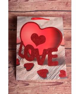 """Darčeková taška """"LOVE"""" - srdce (31x42x12cm)"""