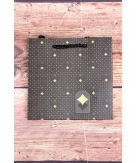 Darčeková taška - čierno-sivo-zlatá (15x14x6 cm)