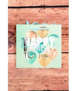 """Darčeková taška """"HAPPY BIRTHDAY"""" - zelená (15x14x6 cm)"""