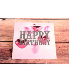 """Darčeková taška """"HAPPY BIRTHDAY"""" - ružová (15x14x6 cm)"""