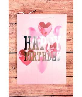 """Darčeková taška """"HAPPY BIRTHDAY"""" - ružová (31x44x12 cm)"""