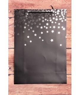 Darčeková taška - strieborné hviezdy - čierna (31x44x12 cm)