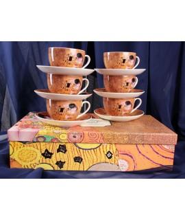 """Čajová porcelánová súprava """"Gustav Klimt"""" - 6ks (6x280ml, p. 9,5cm, v. 6,3cm)"""