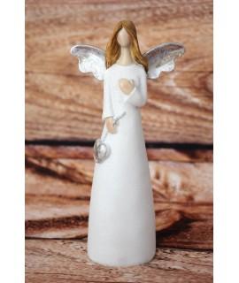 Anjel so striebornými krídlami a so srdiečkom v ruke - biely (v. 17cm)