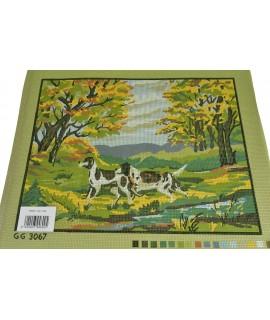 Gobelín - psy v lese