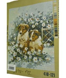 Gobelín - psy s kvetmi
