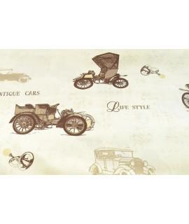 Bavlnená látka AUTO - krémová (š. 180 cm)