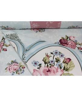 """Bavlnená látka (š. 240 cm) """"RUŽE"""" - bledomodro-ružová 100 % bavlna"""